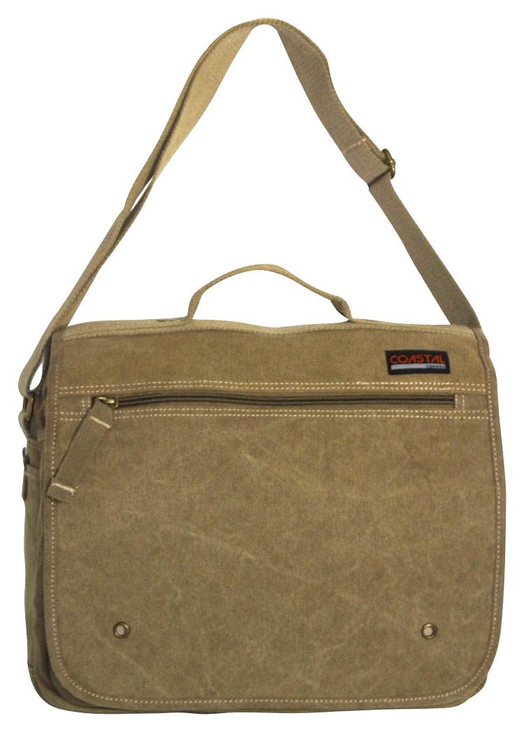 Coastal Canvas - Laptop Messenger Bag - Light Brown