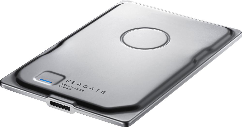 Seagate - Seven 500GB External USB 3.0 Portable Hard Drive - Silver