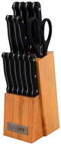 PureLife - 15-Piece Knife Set - Wood