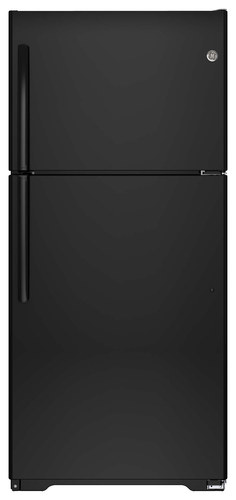 GE - 18.2 Cu. Ft. Frost-Free Top-Freezer Refrigerator - Black
