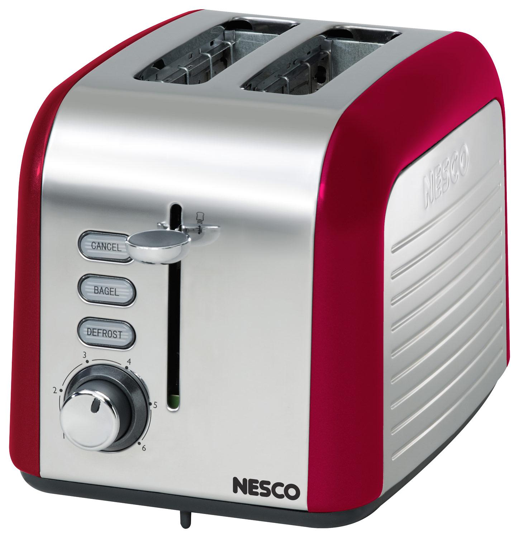 Nesco - Everyday 2-Slice Wide-Slot Toaster - Red/Chrome
