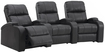 Octane Seating - Headliner 3-Seat Curved Leather Home Theater Seating - Black