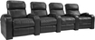 TheaterSeatStore - Headliner 4-Seat Straight Leather Home Theater Seating - Black