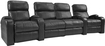 TheaterSeatStore - Headliner 2-Seat Straight Leather Home Theater Seating with Love Seat - Black
