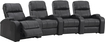 TheaterSeatStore - Headliner 4-Seat Curved Leather Home Theater Seating - Black