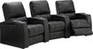TheaterSeatStore - Magnolia 3-Seat Curved Leather Home Theater Seating - Black