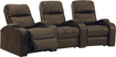 TheaterSeatStore - Headliner 3-Seat Curved Leather Home Theater Seating - Brown