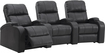 TheaterSeatStore - Headliner 3-Seat Curved Leather Home Theater Seating - Black