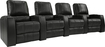 TheaterSeatStore - Magnolia 4-Seat Straight Leather Home Theater Seating - Black