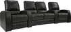 TheaterSeatStore - Magnolia 2-Seat Curved Leather Home Theater Seating with Love Seat - Black