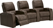 TheaterSeatStore - Magnolia 3-Seat Curved Leather Home Theater Seating - Brown
