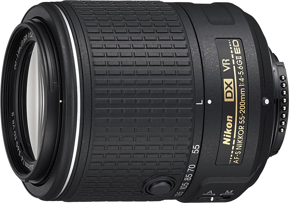Nikon - AF-S DX NIKKOR 55-200mm f/4.5-5.6G ED VR Zoom Lens - Black