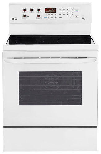 """LG - 30"""" Self-Cleaning Freestanding Electric Convection Range - Smooth White"""