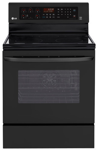 """LG - 30"""" Self-Cleaning Freestanding Electric Convection Range - Smooth Black"""