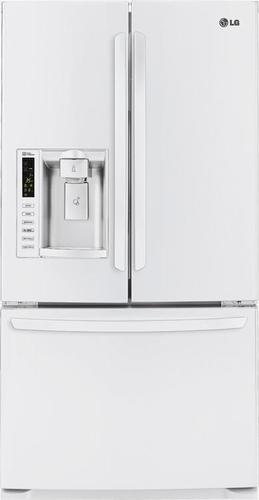 LG - 24.7 Cu. Ft. French Door Refrigerator with Thru-the-Door Ice and Water - White