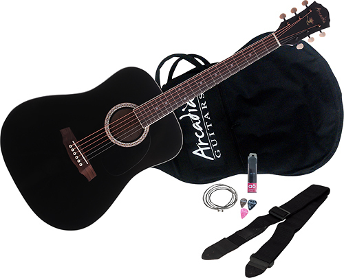 Arcadia - DL Series Full-Size Dreadnought Acoustic Guitar - Black
