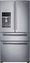 Samsung - 24.7 Cu. Ft. 4-Door French Door Refrigerator with Thru-the-Door Ice and Water - Stainless-Steel
