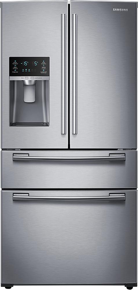 Samsung - 24.7 Cu. Ft. 4-Door French Door Refrigerator with Thru-the-Door Ice and Water - Stainless-Steel
