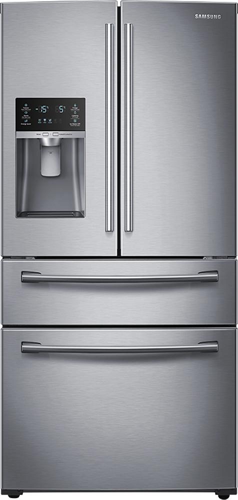 Samsung - 28.2 Cu. Ft. 4-Door French Door Refrigerator with Thru-the-Door Ice and Water - Stainless-Steel