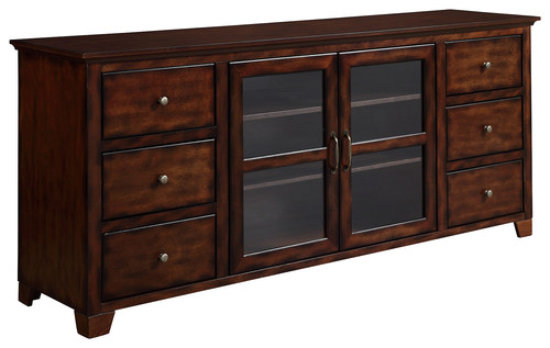 Walker Edison - Deluxe Wood TV Stand for Most Flat-Panel TVs Up to 70 - Brown