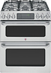"GE - Cafe 30"" Self-Cleaning Freestanding Double Oven Gas Convection Range - Stainless-Steel"