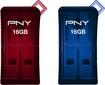 PNY - Micro Sleek Attaché 16GB USB 2.0 Flash Drives (2-Pack) - Red/Blue