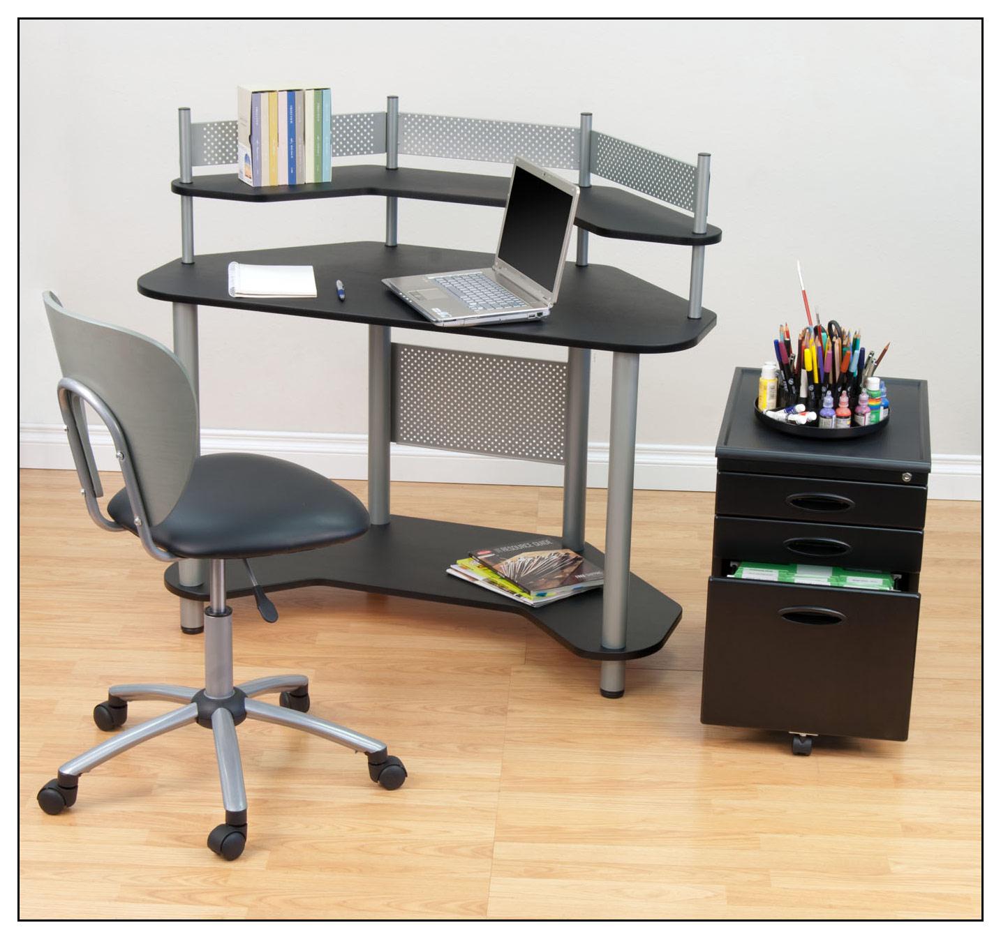 Calico Designs - Study Corner Computer Desk - Silver/Black