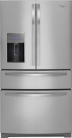 Whirlpool - 28.1 Cu. Ft. 4-Door French Door Refrigerator with Thru-the-Door Ice and Water - Monochromatic Stainless-Steel