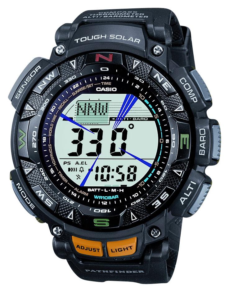 Casio - Men's Pathfinder Triple Sensor Multifunction Sport Watch - Black