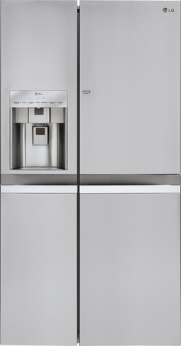 LG - Door-in-Door 21.6 Cu. Ft. Counter-Depth Side-by-Side Refrigerator with Thru-the-Door Ice and Water - Stainless Steel