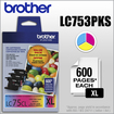 Brother - LC753PKS XL 3-Pack High-Yield Ink Cartridges - Yellow/Cyan/Magenta