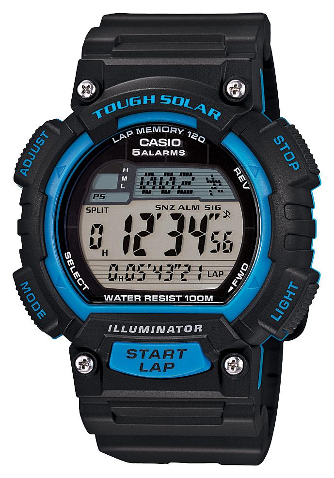 Casio - Men's Solar-Powered Digital Watch - Black/Blue