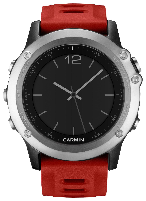 Garmin - Fenix 3 Gps Watch - Silver/red