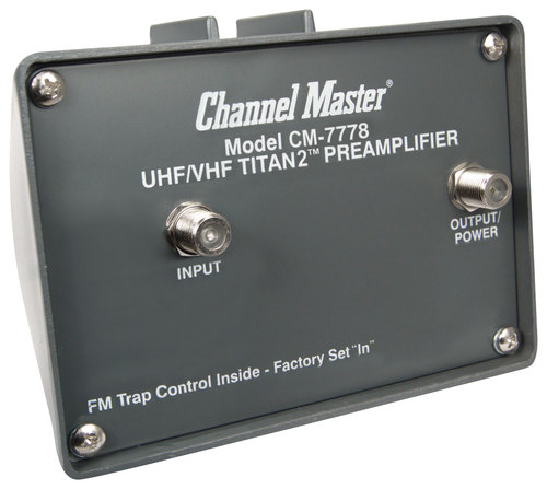 Channel Master - Titan 2 VHF/UHF Pre-Amplifier with Power Supply - Black