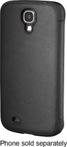 Platinum - Leather Flip Case for Samsung Galaxy S 4 Cell Phones - Black