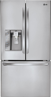 LG - 24.5 Cu. Ft. Counter-Depth French Door Refrigerator with Thru-the-Door Ice and Water - Stainless-Steel