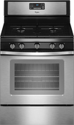 "Whirlpool - 30"" Self-Cleaning Freestanding Gas Convection Range - Black-on-Stainless"