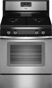 "Whirlpool - 30"" Self-Cleaning Freestanding Gas Range - Black-on-Stainless-Steel"