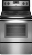 "Whirlpool - 30"" Self-Cleaning Freestanding Electric Convection Range - Black-on-Stainless-Steel"