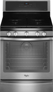 """Whirlpool - 30"""" Self-Cleaning Freestanding Gas Convection Range - Black-on-Stainless-Steel"""