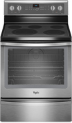 """Whirlpool - 30"""" Self-Cleaning Freestanding Electric Convection Range - Black-on-Stainless"""