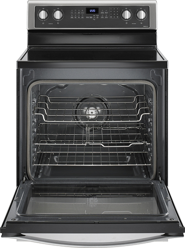 """Whirlpool WFE715H0ES 30"""" Self-Cleaning Freestanding Electric Convection Range Black-on-Stainless"""