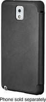 Platinum - Leather Flip Case for Samsung Galaxy Note 3 Cell Phones - Black