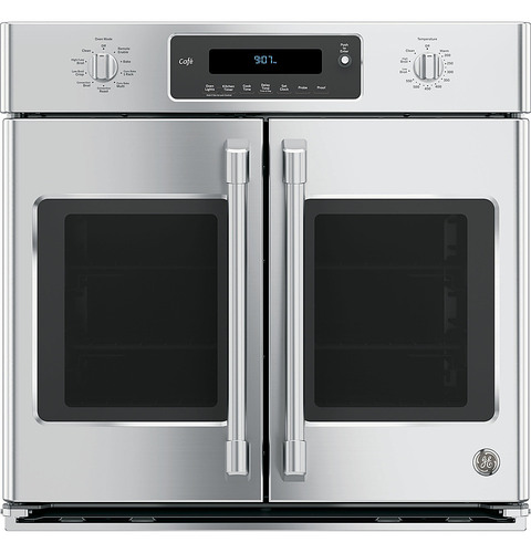GE - Cafe Series 30 Built-In Single Electric Convection Wall Oven - Stainless Steel