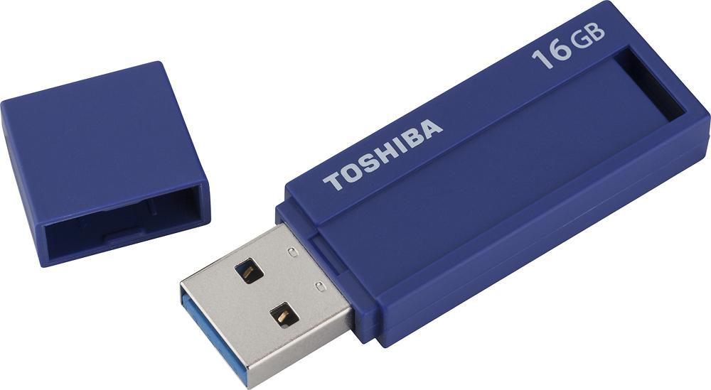 Toshiba - TransMemory ID 16GB USB 3.0 Flash Drive - Blue