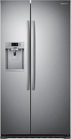 Samsung - 22.3 Cu. Ft. Counter-Depth Side-by-Side Refrigerator with Thru-the-Door Ice and Water - Stainless-Steel