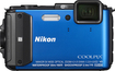 Nikon - Coolpix AW130 16.0-Megapixel Digital Camera - Blue