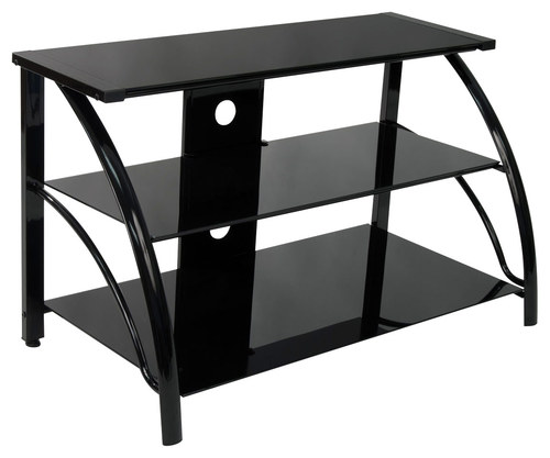 Calico Designs - Stiletto 3-Tier Glass TV Stand for Most Flat-Panel TVs Up to 40 - Black