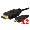 DrHotDeal - HDMI A/V Cable for TV, Camera, Gaming Console, Cellular Phone - 6ft - 2 Pack - Black