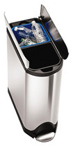 simplehuman - 40L Butterfly Step Trash and Recycling Can - Stainless-Steel